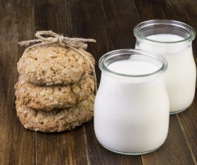 Milk and Oatmeal cookies Stock Photo