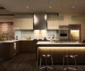 Modern Open kitchen Stock Photo 03
