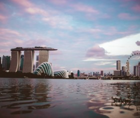 Modern architectures on singapore bay Stock Photo