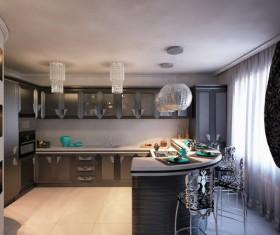 Modern simple Open kitchen Stock Photo 05