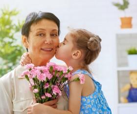 Mothers Day gave grandmas flowers Stock Photo 01