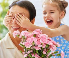Mothers Day gave grandmas flowers Stock Photo 02