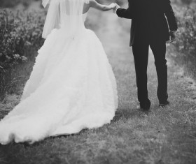 Newlywed couple black and white photo