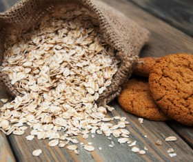 Oatmeal and cookies Stock Photo