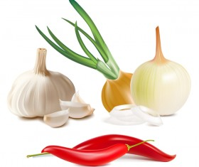 Onion garlic and pepper vector illustration