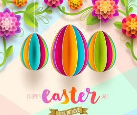 Origami egg with easter card vector