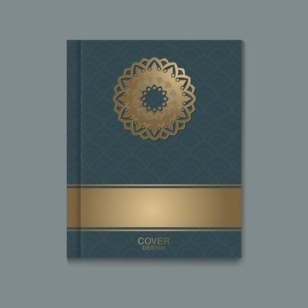 Ornate book cover template vectors 01