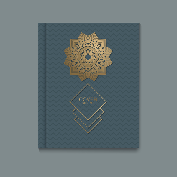 Ornate book cover template vectors 02