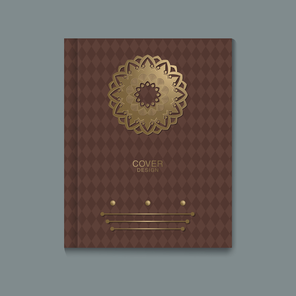 Ornate book cover template vectors 03