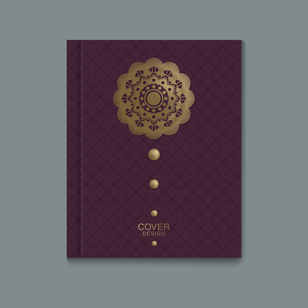 Ornate book cover template vectors 04