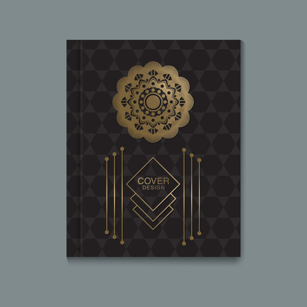 Ornate book cover template vectors 06