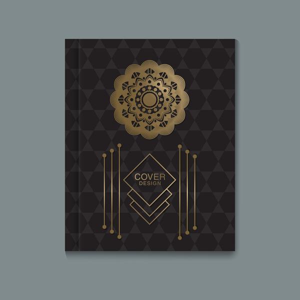 Ornate book cover template vectors 06