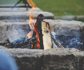 Outdoor burning bonfire Stock Photo