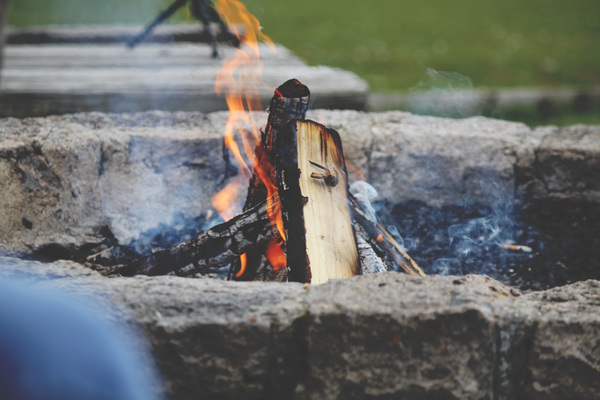 Outdoor burning bonfire Stock Photo
