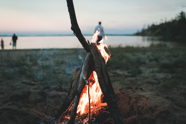 Outdoor burning firewood Stock Photo