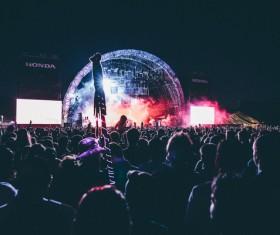 Outdoor nighttime music performance Stock Photo
