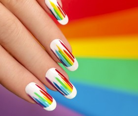 Painted Patch nail art Stock Photo 01