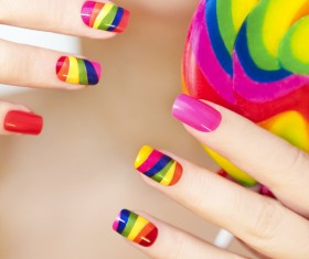 Painted Patch nail art Stock Photo 02