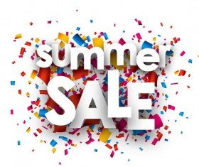 Paper cut summer sale with confetti vector