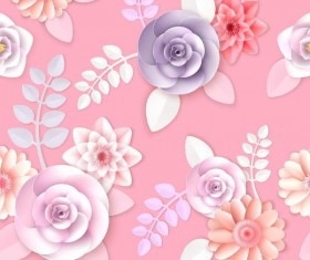 Paper flower seamless pattern and pink background vector