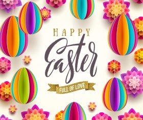 Paper flower with origami egg easter background vector