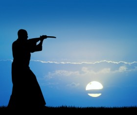 People practicing martial arts in the morning Stock Photo
