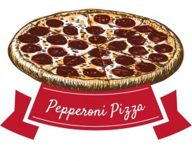 Pepperoni pizza hand drawn vector
