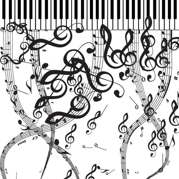 Pianoforte with musical symbols vector