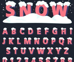 Pink snow alphaber with number vector