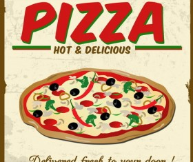 Pizza vintage poster template vector set 01