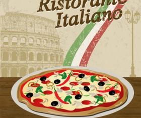 Pizza vintage poster template vector set 02