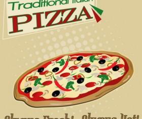 Pizza vintage poster template vector set 03