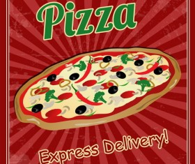 Pizza vintage poster template vector set 04