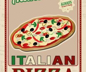 Pizza vintage poster template vector set 05