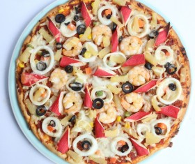 Pizza with seafood Stock Photo 02