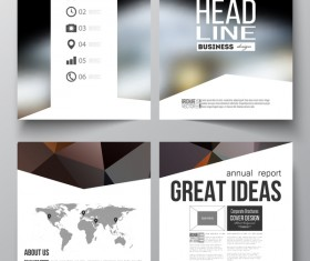 Polygonal design cover template magazine with flyer vector 01