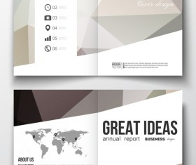 Polygonal design cover template magazine with flyer vector 02