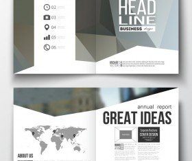 Polygonal design cover template magazine with flyer vector 03