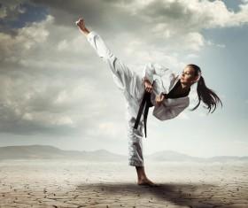 Practice karate girl Stock Photo 01