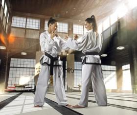 Practice karate girl Stock Photo 02
