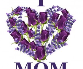 Purple flower heart with mothers day card vector