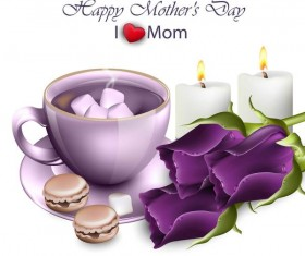 Purple flower with mothers day background vector