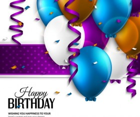 Purple ribbon with balloon birthday background vector