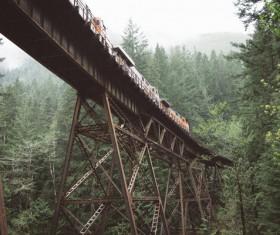 Railway on steel bridge in forest Stock Photo