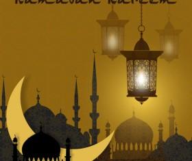 Ramadan Kareem greeting card vectors set 01