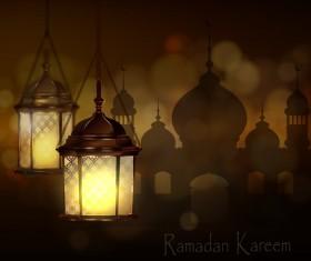 Ramadan Kareem greeting card vectors set 02