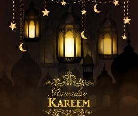 Ramadan Kareem greeting card vectors set 03