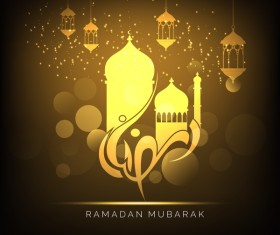 Ramadan Kareem greeting card vectors set 07