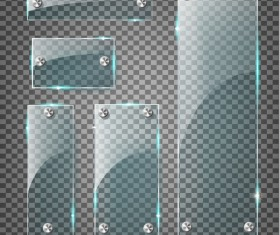 Rectangle glass banner with screws vector 03