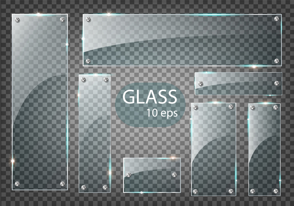 Rectangle glass banner with screws vector 04